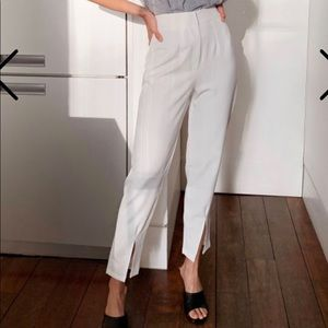 Slit high-waisted pants